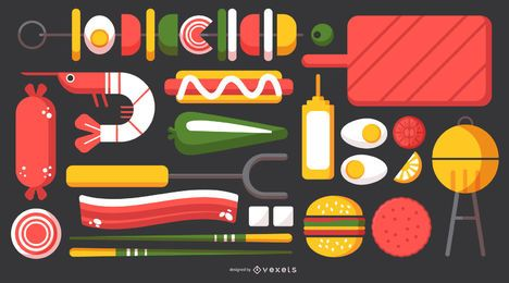 Barbecue Stylish Element Design Pack