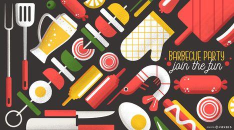 Design de papel de parede de festa de churrasco