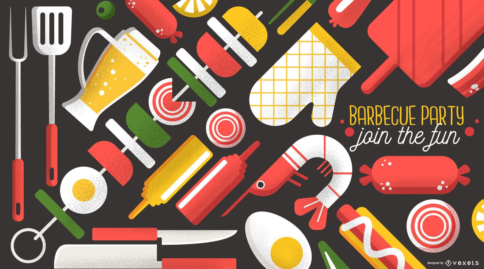 Barbecue Party Wallpaper Design