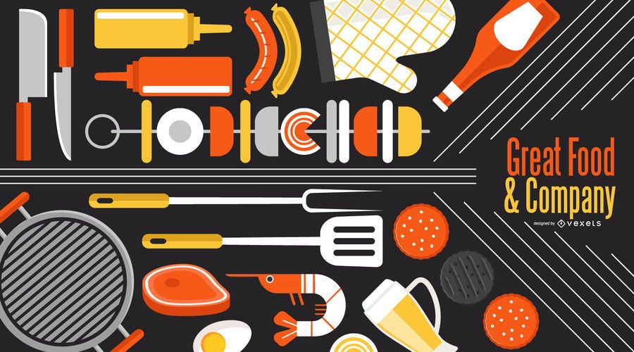 Barbecue Company Wallpaper Design