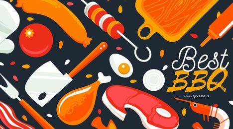 Bestes BBQ-Lebensmittel-Hintergrund-Design