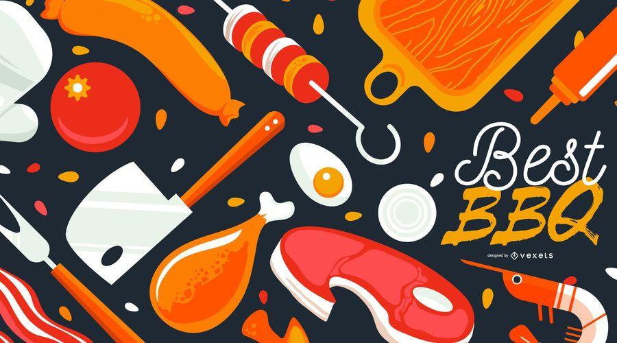 Best BBQ Food Background Design