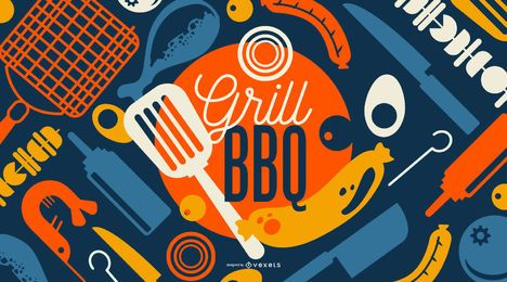 Grill BBQ Wallpaper Design