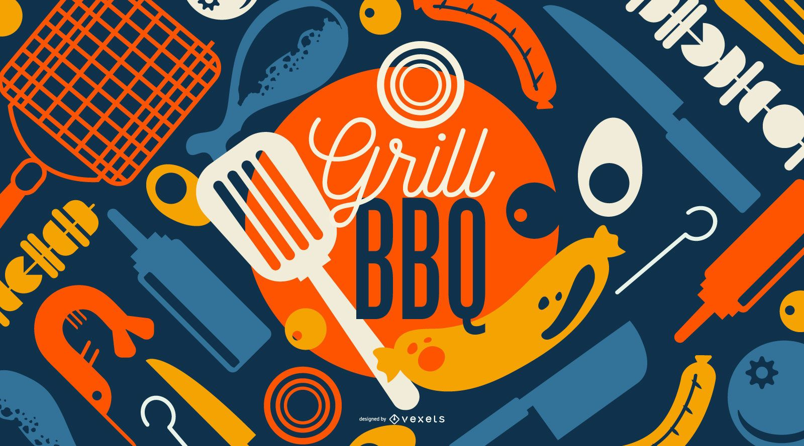 Grill BBQ Wallpaper Design
