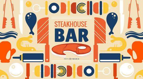 Design de papel de parede Steakhouse Bar