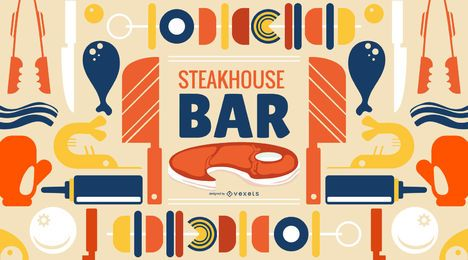 Diseño de papel tapiz de Steakhouse Bar