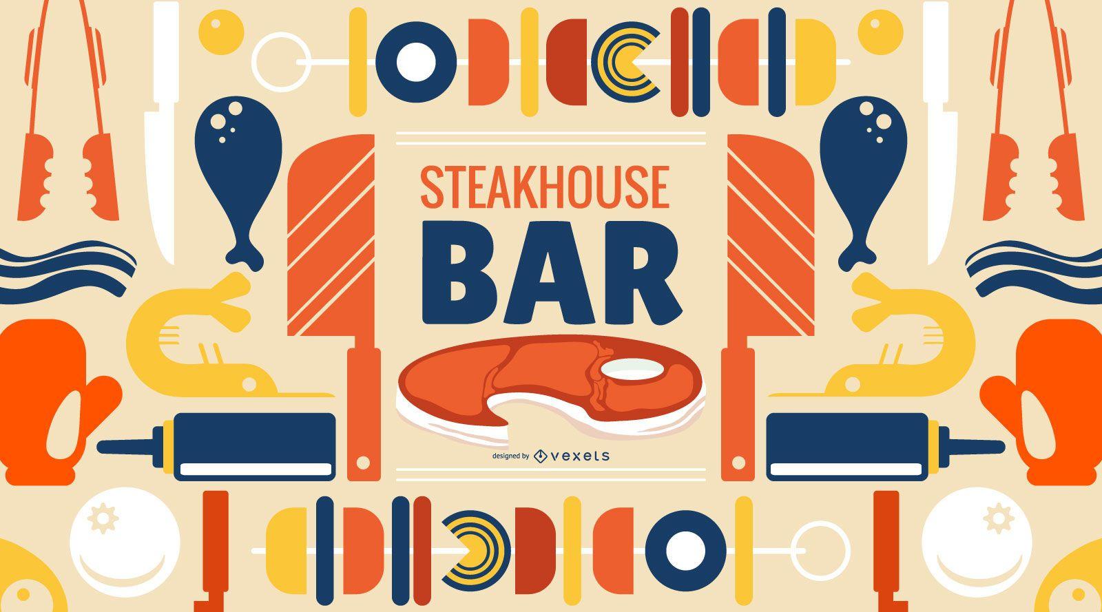 Steakhouse Bar Wallpaper Design