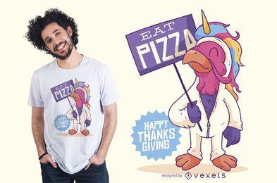 Diseño de camiseta divertida de acción de gracias de pavo unicornio
