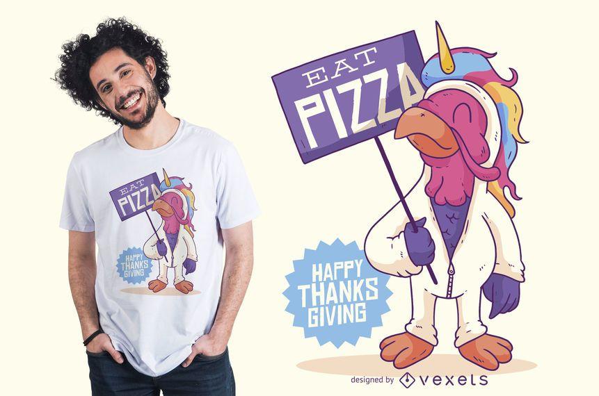 Design engraçado do t-shirt da ação de graças de Turquia do unicórnio