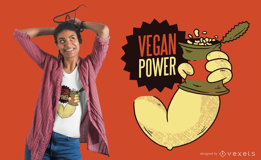 Diseño de camiseta Vegan Power Beans