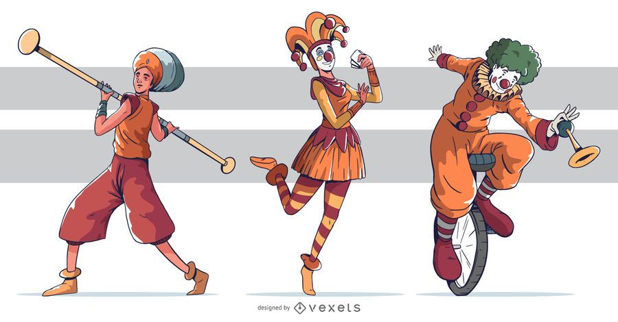 Circus Character Colored Design Pack