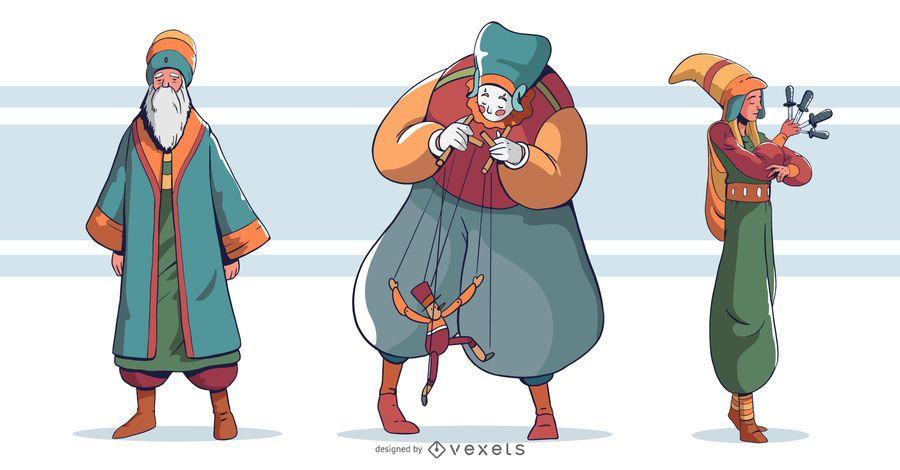 Conjunto de design de artistas de circo