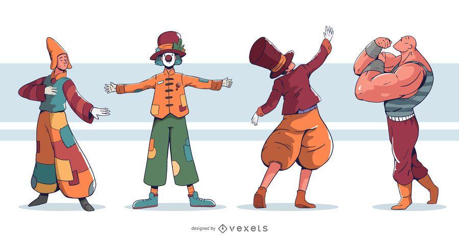Conjunto de design de artista de circo