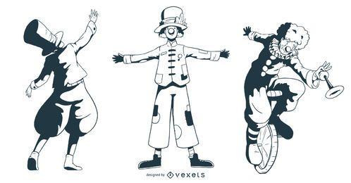Conjunto de Design de personagens de pessoas de circo