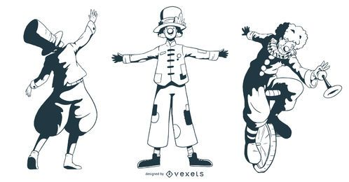 Conjunto de diseño de personajes de circo personas