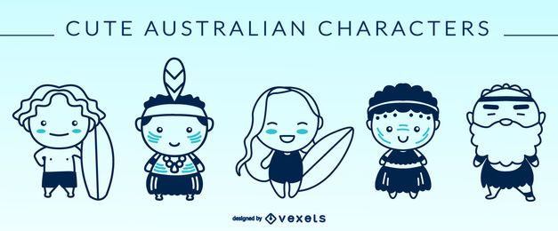 Cute australian characters silhouettes