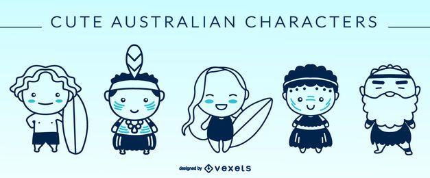 Siluetas de personajes australianos lindos