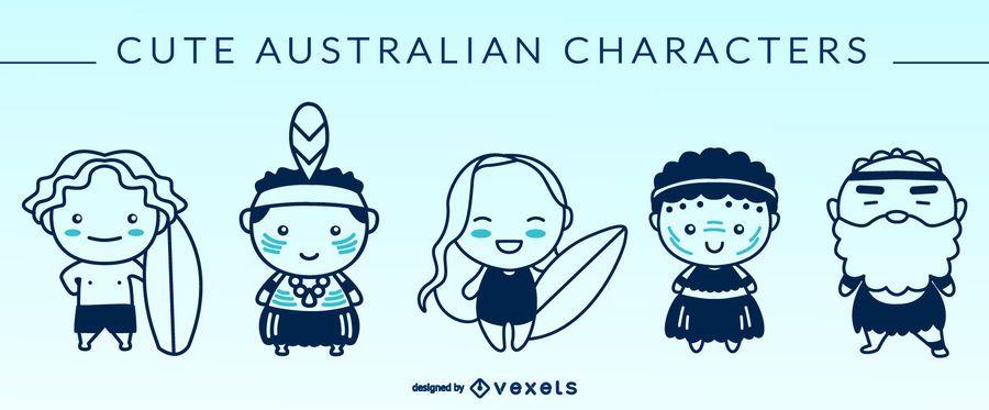 Cute australian characters silhouettes