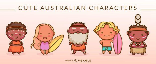 Lindo conjunto de personajes australianos