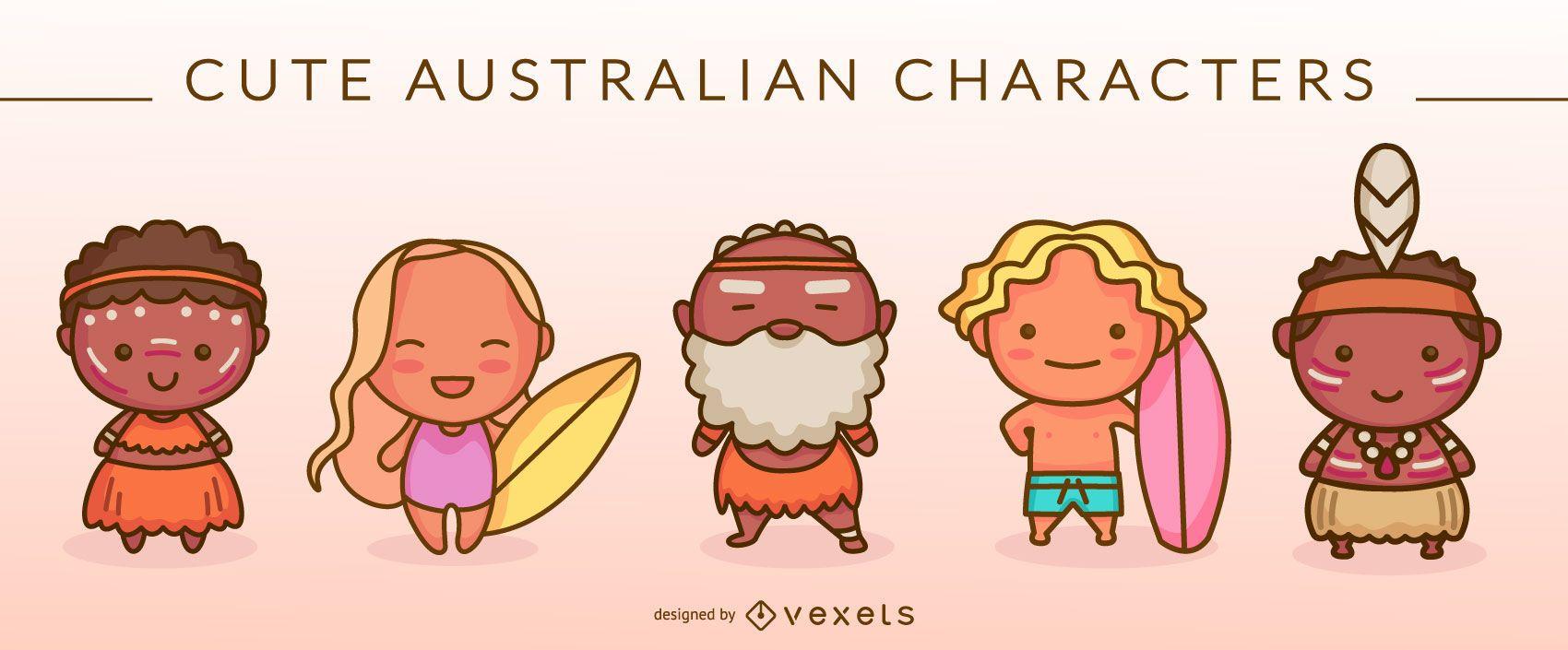 Cute australian characters set