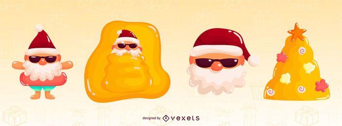 Paquete de elementos brillantes de Navidad tropical