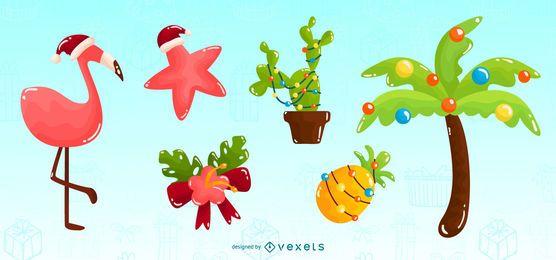 Conjunto de elementos brillantes de Navidad tropical