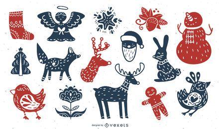 Paquete de diseño de silueta de elementos navideños