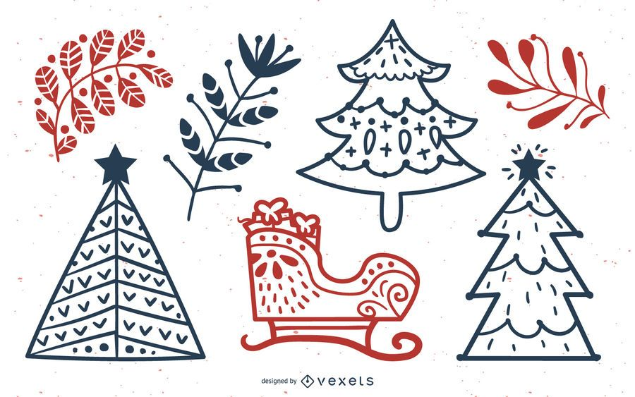 Christmas Elements Stroke Line Collection
