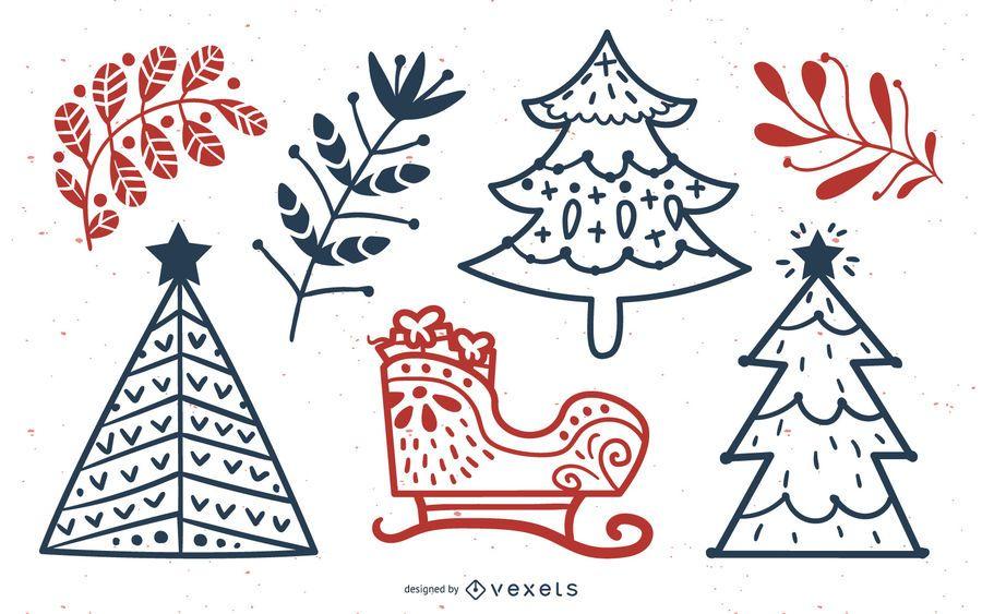 Weihnachten Elements Stroke Line Collection