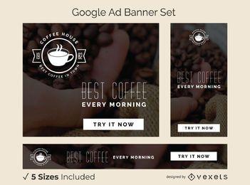 Conjunto de banner de anuncio de cafetería