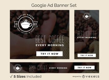 Conjunto de banner de anúncio de casa de café