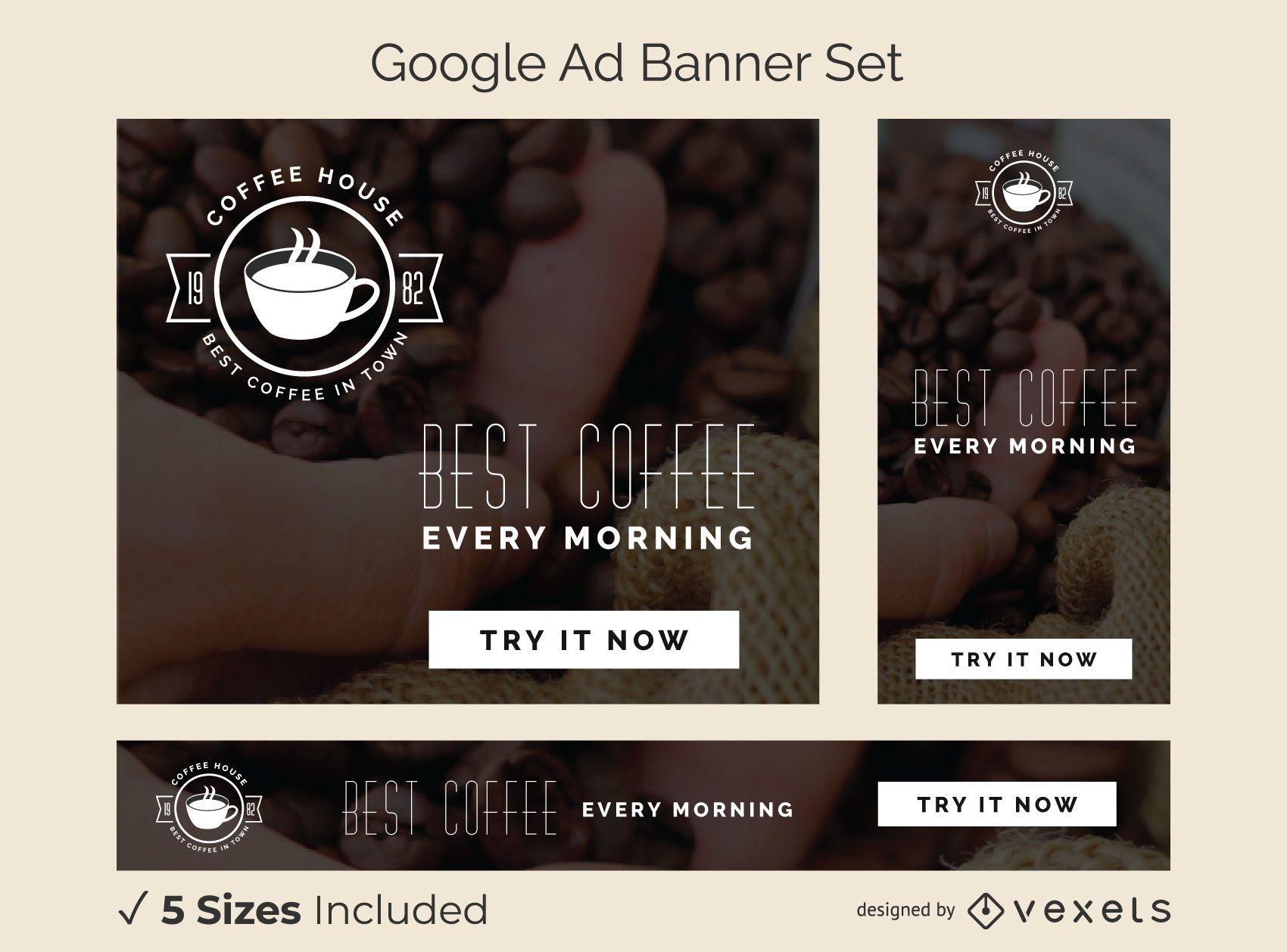 Conjunto de banner de anuncio de cafeter?a