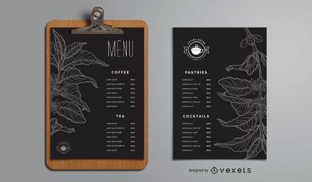 Modelo de menu de casa de café