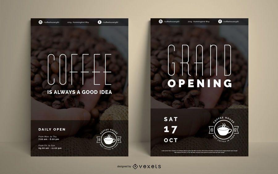 Conjunto de cartaz de casa de café