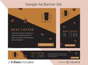 Conjunto de banners publicitarios de cafetería