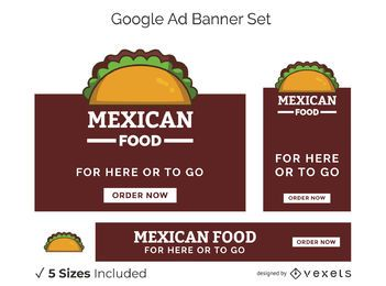 Conjunto de banners de anuncios de Google de comida mexicana