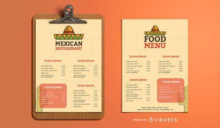 Diseño de plantilla de menú de restaurante mexicano