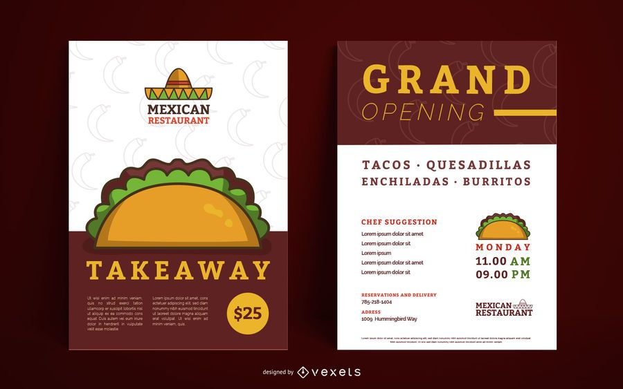 Conjunto de carteles editables de restaurante mexicano