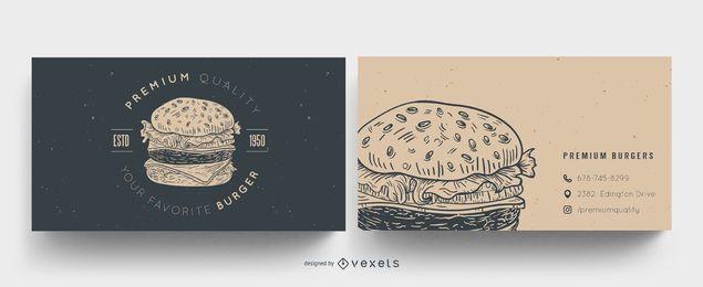 Design de cartão de visita de hambúrguer
