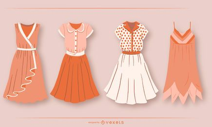 Conjunto de design de roupas de vestido curto