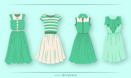 Green Short Dress Design Pack