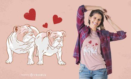 Englischer Bulldoggen-Paar-Liebes-T-Shirt Entwurf