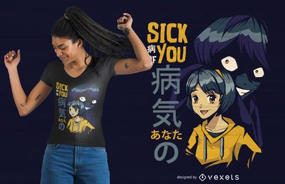 Diseño de camiseta de Anime Girl Evil Shadow