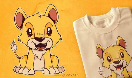 Diseño lindo de la camiseta del bebé león