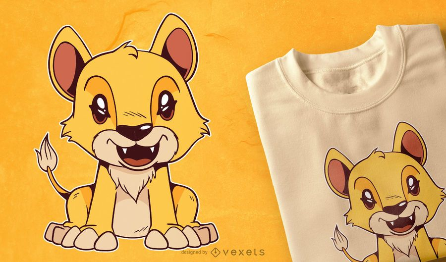 Design bonito do t-shirt do leão do bebê