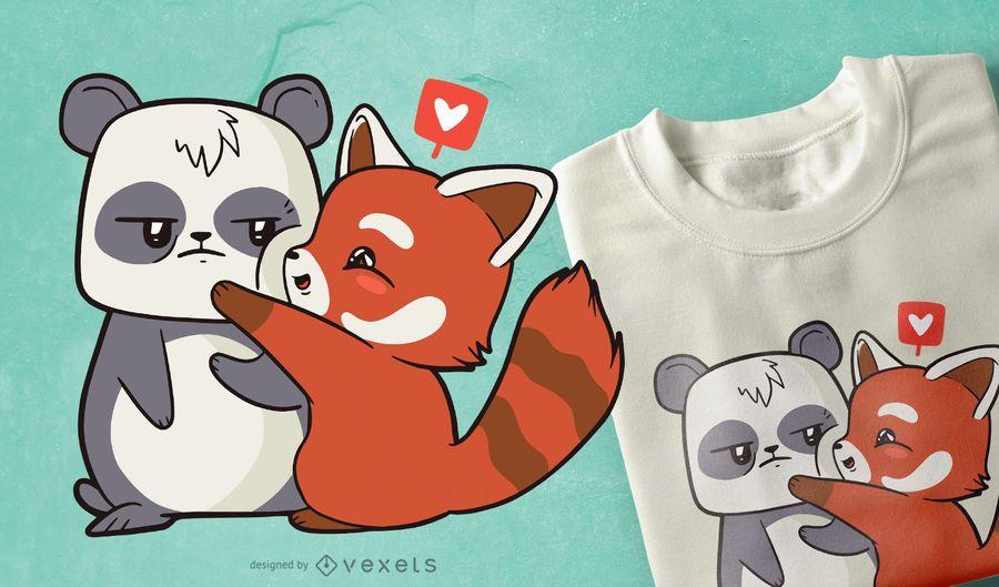 Design de t-shirt de amor de desenho animado de panda