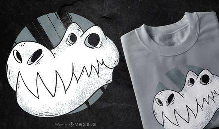 Projeto do t-shirt do crânio de T-rex