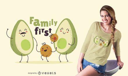 Diseño lindo de la camiseta de la familia del aguacate