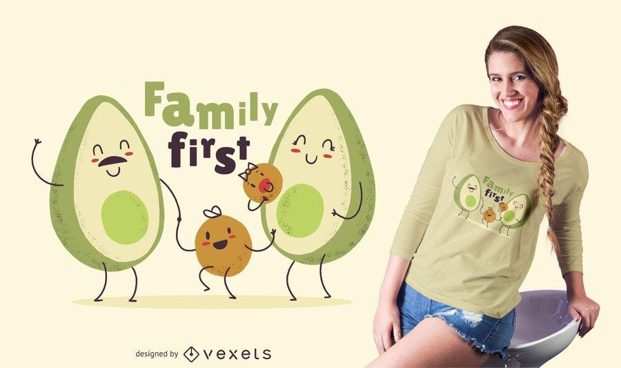 Cute Avocado Family T-shirt Design