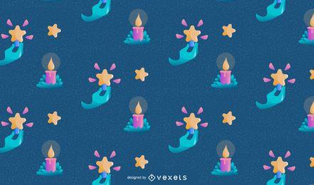 Diseño de patrón de velas navideñas